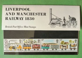 British Stamps SG 1113-17 1980 Presentation Pack 116  Liverpool Manchester Railway