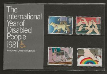 British Stamps SG 1147-50 1981 Presentation Pack 125 Disabled People