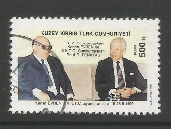 North Cyprus Stamps SG 288 1990 Visit of president Kenan Everen of Turkey - USED (L697)