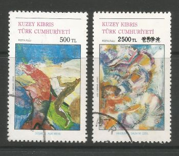 North Cyprus Stamps SG 315-16 1991 Art 2nd Series - USED (L707)