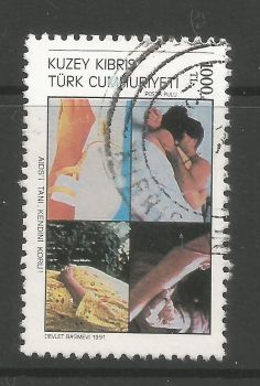 North Cyprus Stamps SG 321 1991 AIDS Day - USED (L709)