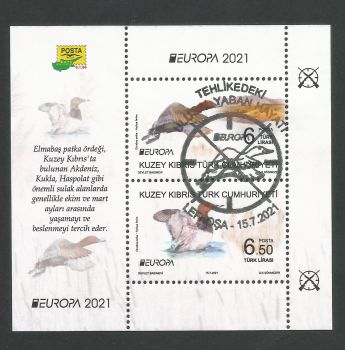 North Cyprus Stamps SG 2021 (a) Europa Endangered National Wildlife Birds Mini Sheet - CTO USED (P705)