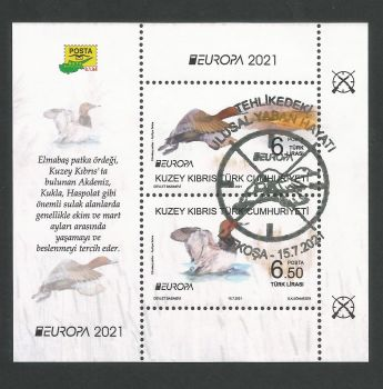 North Cyprus Stamps SG 2021 (a) Europa Endangered National Wildlife Birds Mini Sheet - CTO USED (P706)