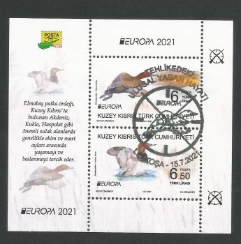 North Cyprus Stamps SG 2021 (a) Europa Endangered National Wildlife Birds Mini Sheet - CTO USED (P707)