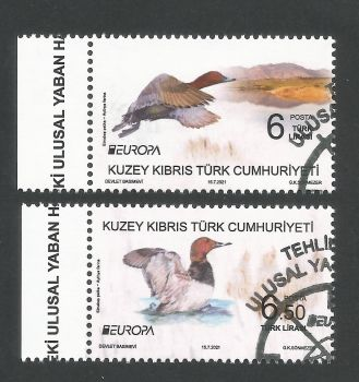 North Cyprus Stamps SG 2021 (a) Europa Endangered National Wildlife Birds - CTO USED (P701)