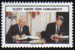 North Cyprus Stamps SG 244 1988 400TL Gorbachev and Regan treaty - MINT