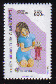 North Cyprus Stamps SG 251 1989 600TL Girl with Doll - MINT