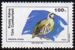 North Cyprus Stamps SG 254 1989 100TL Chukar Partridge - MINT