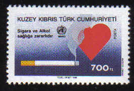 North Cyprus Stamps SG 274 1990 700TL Smoking Cigarette and Heart - MINT