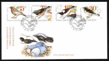 Cyprus Stamps SG 800-803 1991 Birds - FDC
