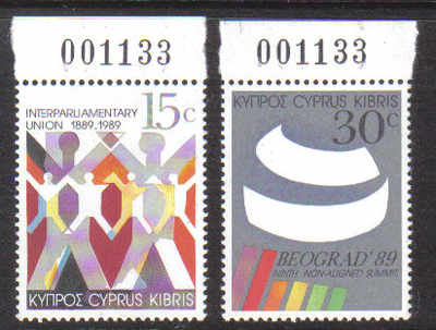 Cyprus Stamps SG 745-46 1989 Non-aligned conference - MINT (d482)
