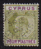 Cyprus Stamps SG 066 1905 Four Piastres - USED (d961)