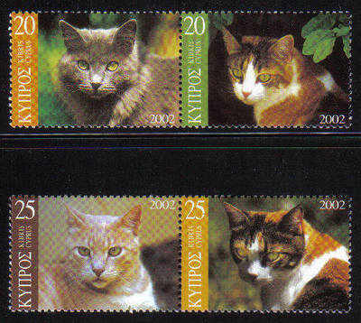 Cyprus Stamps SG 1025-28 2002 Cats - MINT (d023)