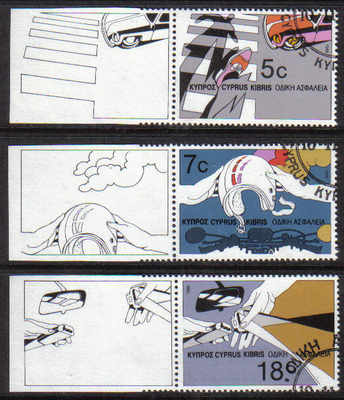Cyprus Stamps SG 689-91 1986 Road Safety - CTO USED (d188)