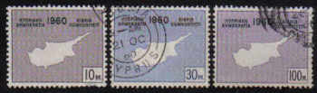 Cyprus Stamps SG 203-05 1960 Maps - USED (d999)