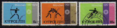 Cyprus Stamps SG 390-92 1972 Munich Olympic Games - USED (e002)