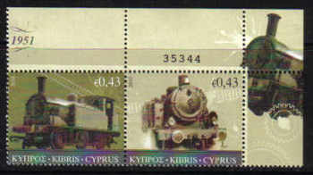 Cyprus Stamps SG 1222-23 2010 The Cyprus Railway (version 2) Control numbers - MINT (e134)