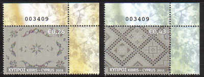 Cyprus Stamps SG 1241-42 2011 Cyprus Embroidery Lefkara Lace Control number