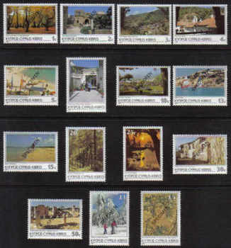 Cyprus Stamps SG 648-62 1985 6th Definitives Scenes - Specimen MINT (d726)