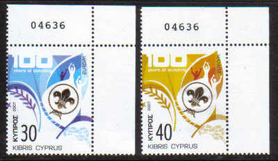Cyprus Stamps SG 1133-34 2007 Europa 100yrs of Scouting Control numbers - M