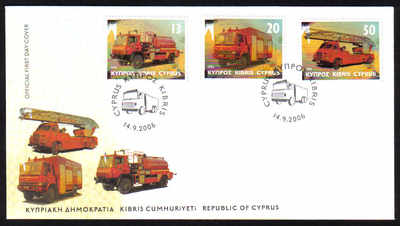 Cyprus Stamps SG 1116-18 2006 Fire Engines - Official FDC