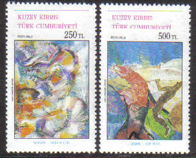 North Cyprus Stamps SG 315-16 1991 Art 10th Series - MINT