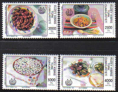 North Cyprus Stamps SG 347-50 1992 Turkish Cypriot Cuisine - MINT