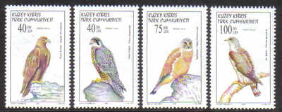 North Cyprus Stamps SG 447-50 1997 Birds of Prey - MINT