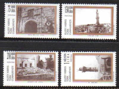 North Cyprus Stamps SG 499-502 1999 Destruction of Turkish Buildings in Sou