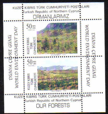North Cyprus Stamps SG 428 MS 1996 World Environment day - MINT