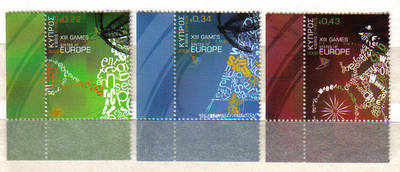 Cyprus Stamps SG 1190-92 2009 XIII Games of the Small States of Europe - US