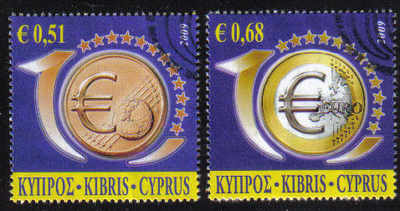 Cyprus Stamps SG 1182-83 2009 10th Anniversary of the Euro - USED (d875)