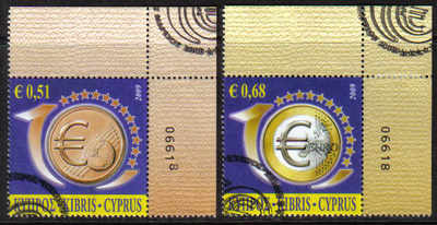 Cyprus Stamps SG 1182-83 2009 10th Anniversary of the Euro Control numbers