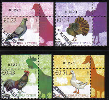 Cyprus Stamps SG 1194-97 2009 Domestic Fowl of Cyprus - USED (d873)