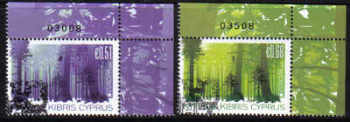 Cyprus Stamps SG 1246-47 2011 Europa Forests Control numbers - USED (e166)