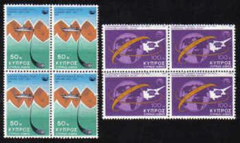 Cyprus Stamps SG 449-50 1975 Telecommunication Achievements - Block of 4 MINT