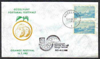 North Cyprus Stamps 1983 Orange festival Slogan Cachet - Unofficial Cover (c207)