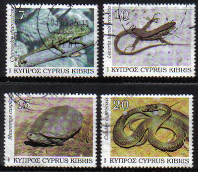 Cyprus Stamps SG 822-25 1992 Reptiles - USED (e224)