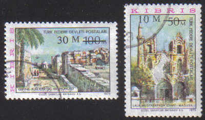 North Cyprus Stamps SG 025-26 1976 Surcharge - USED (e239)