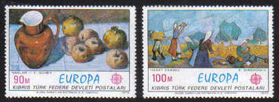 North Cyprus Stamps SG 023-24 1975 Europa Paintings - MLH