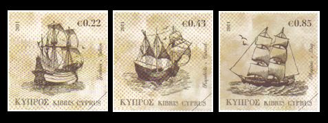 2011 Tall Ships Cyprus stamps 3 values - Sample Image only