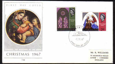 Gibraltar Stamps SG 0217-18 1967 Christmas - Official FDC (e268)
