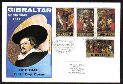 Gibraltar Stamps SG 0393-96 1977 Christmas - Official FDC (e267)