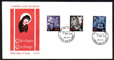 Malta Stamps SG 0444-46 1970 Christmas - Official FDC (e270)