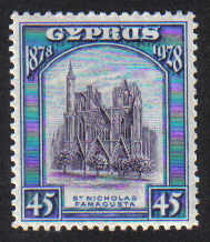 Cyprus Stamps SG 131 1928 45 Piastres 50th Anniversary of British rule - MH