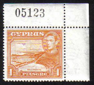Cyprus Stamps SG 154 1938 1 Piastre KG VI - MINT (e282)