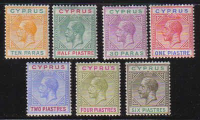 Cyprus Stamps SG 074-80 1912-15 Short Set - MLH (e294)