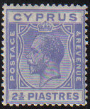 Cyprus Stamps SG 122 1925 2 1/2 Piastres - MLH (e330)