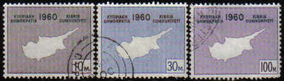 Cyprus Stamps SG 203-05 1960 Maps - USED (e333)