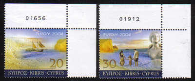 Cyprus Stamps SG 1073-74 2004 Europa Holidays Control numbers - MINT (e006)